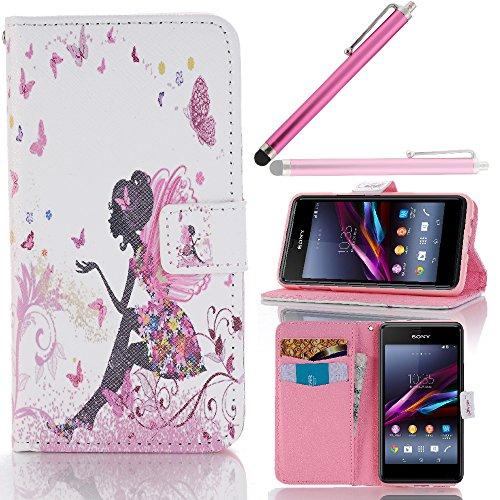 Hunye PU Ledertasche im Bookstyle Schutzhülle für Sony Xperia E1 / E1 Dual Tasche Etui Cover schöne Frau Schmetterling Muster Flip Case Schale mit Stylus rosa