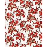 Papel pintado vinílico de diseño floral EDEM 072-26 gris claro rojo blanco amarillo plata