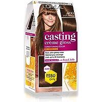 L'Oréal Paris Casting Crème Gloss Hair Color, Dark Brown 400, 87.5g+72ml