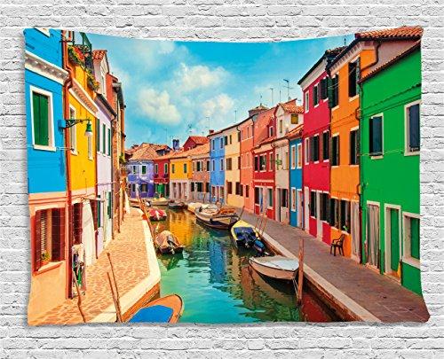 Venice Tapisserie by ambesonne, bunt, Gebäuden und Wasser Kanal mit Booten die Insel Burano in der venezianischen Lagune zum Aufhängen, für Schlafzimmer Wohnzimmer Wohnheim, multicolor, Textil, Multi 1, 60
