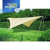 sunprotect Sonnensegel-Set sunprotect Sonnensegel Komplett-Set, 4x4m Quadrat, Polyester, beige (1 Stück)
