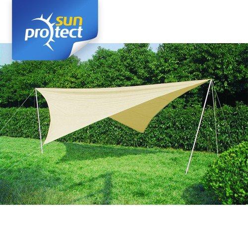 sunprotect Sonnensegel Komplett-Set, 4x4m Quadrat, Polyester, beige (1 Stück)