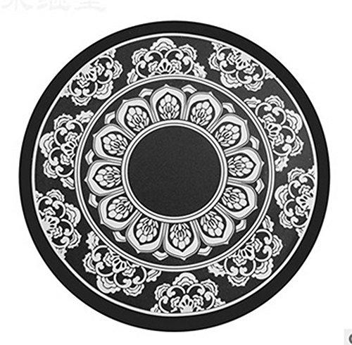Daorier Tapis antidérapants tapis de silicone Coaster Accessoires automobiles d'intérieur Ornements en céramique Style oriental Porcelaine bleue et blanche Noir1 PC