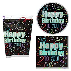 Brilliant Birthday Party Dessert Tableware Set (8 Plates, 16 Napkins, 1 Table Cover)