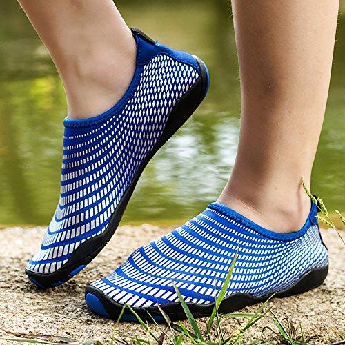Femme Homme schwimmschuhe séchage rapide Chaussures Unisexe Chaussures Plage Aqua Chaussures aquatiques Surf Chaussons Marcher, yoga, mer, plage, jardin, parc conduire, bateau Nautique Blau-GZ