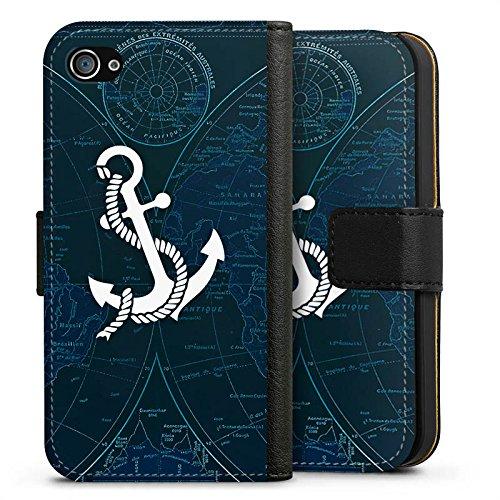 Apple iPhone 7 Tasche Hülle Flip Case Anker Segeln Schiff Sideflip Tasche schwarz
