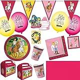 HHO Bibi und Tina Party-Set 58tlg. für 6 Kinder : Teller Becher Servietten Einladung Geschenkboxen Tischdecke Luftballons Wimpelkette