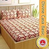 Divine Casa Cotton 144 TC Ethnic Double Bed Bedsheets, Orange
