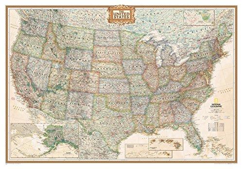 National Geographic-Vereinigten Staaten Executive Karte, vergrößertes & Laminiertes Poster von National Geographic 175,3x 121,9cm (Laminierte Karten)