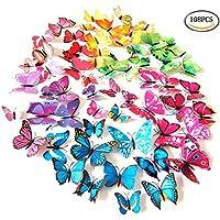 Foonii® 108 Pezzi farfalle 3D adesivi per pareti vari colori decorazione casa stickers murali (12 Pezzi Rosso / Blu / Giallo / Verde / Rosa / Colore / Bianca / Realistico / Viola)
