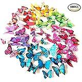 Foonii® 108 PCS 3D Schmetterlinge Wanddeko Aufkleber Abziehbilder,schlagfestem Kunststoff Schmetterling Dekorationen, W