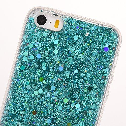 Cover iPhone 5S,Cover iPhone 5,Cover iPhone SE,Custodia iPhone 5S 5 SE Cover,ikasus® Cover custodia iPhone SE 5S 5 Crystal Brillante scintilla Bling lucido glitter strass diamantiCustodia Cover [Cryst Verde