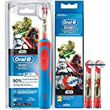 SPAR-SET: 1 Braun Oral-B Stages Power AdvancePower Kids 900 TX elektrische Akku Zahnbuerste Kinder 3 J. D12.513.K Star Wars + 2er Stages Aufsteckbürsten (Yoda Darth Vader)