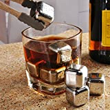 Stainless Steel Reusable Ice Cubes, Aimetech Gift Set 8 PCS whiskey Stones Wine Chilling Rocks Drink Coolers with Tray and 1 Ice Tong