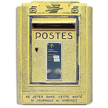 Vertikale Décoration Murale Objet Déco Boîte Aux Lettres Française Rétro  Jaune Trompe Lu0027oeil 40