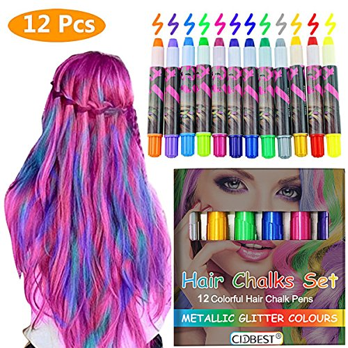che Glitter Temporäre Haarkreide, CIDBEST® 12 Farben Tragbare Hair Chalk Set, Arbeiten auf allen Arten der Haarfarbe für Kinder und Teenager Karneval, Weihnachten, Party etc. (Temporäre Weiße Haar Color Spray)
