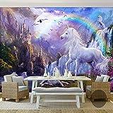 Wandgemälde Benutzerdefinierte 3D Foto Tapete Wandbild Regenbogen Wasserfall Weiß Pferd Landschaft Ölgemälde Wandpapier Für Wohnzimmer,300Cm(H)×500Cm(W)