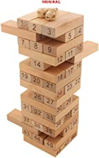 Tanman Wooden Jenga Toy with 4 Dices (Wooden) - 51 Pieces, Premium Quality