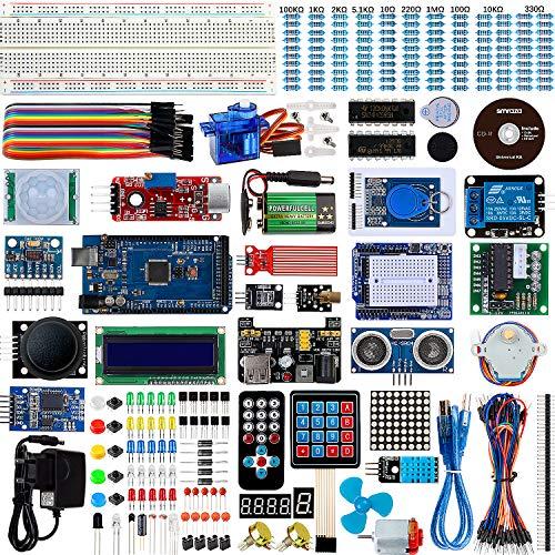 Set / Kit für Arduino - Smraza für Arduino Mega2560 Projekt Ultimate Starter Kit mit Tutorial, MEGA2560 R3 Mikrocontroller und viel Zubehör Kompatibel für Arduino Mega2560 UNO R3 1a Power Supply Kit