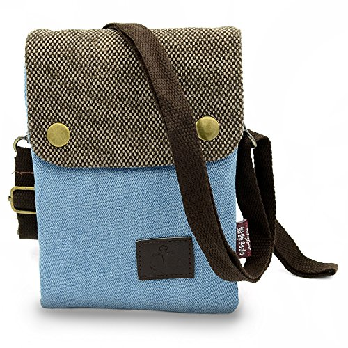 Entzückende Leinwand Damen Mädchen kleine Tasche Umhängetasche Schultertasche Handytasche für iPhone 6S Plus iphone 7 Plus Samsung Galaxy Note 5 Blackberry 8300 HTC One Max Sony Xperia Z3 Z5 (Blau)