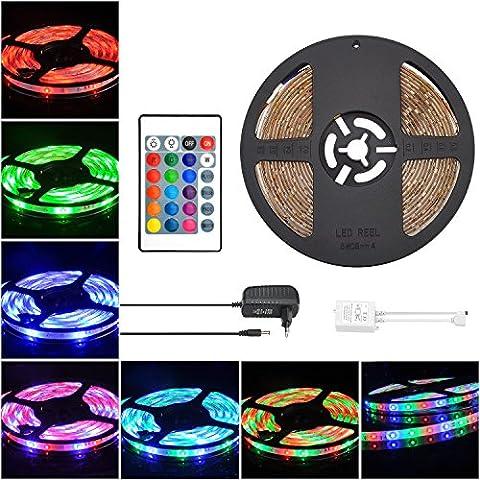 COSANSYS LED Strip RGB LED Streifen Set 5M SMD 3528 Wasserdicht Lichtleisten I65 Farbwechsel LED Strip Lichtband 12V Netzteil LED Streifen 12V 2A Lichtketten mit 24 Tasten IR