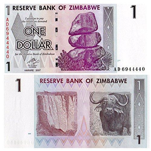 Zubehör für Sammler - 1 Dollar Stempelglanz -Banknote von der Zentralbank von Simbabwe / 2007 / UNC ausgestellt -
