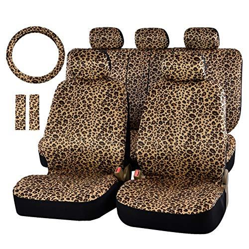 Universal Luxury Leopard Print Autositzbezug Rutschfeste und Atmungsaktive Van Protector mit Sicherheitsgurt Pads Lenkrad
