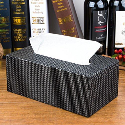 pingofm Personalisierte Desktop Home Papier Handtuch zugänglich Kartusche Continental Creative Auto mit Leder Pull Papier zugeben, Holz Box groß Seidenpapier Boxen Black Large grain Braid (Papier-handtücher Personalisierte)