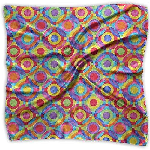 Zcfhike Square Satin Scarf Colorful Dot Silk Like Lightweight Bandanas Head Wrap Neck Shawl Headscarf -