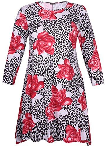 Damen Übergröße Bedruckt Damen Langärmlig Ausgestellt Swing Kleid Lang Tunika Top Rote Blume