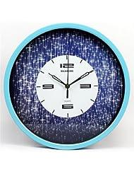 caja azul creativa salón pastoral Relojes de pared de 14 pulgadas de silencio dormitorio reloj reloj restaurante estrellado