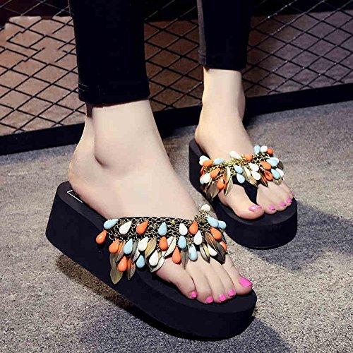 LIXIONG Portable 5.5cm Chaussons de chaussures simples et simples en forme d'été Chaussures de plage antidérapantes Chaussons cool -Chaussures de mode ( Couleur : 1001 , taille : EU39/UK6.5/CN40 ) 1002
