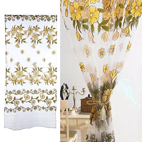 Gowind6tenda soggiorno romantico floreale tulle rattan fiore voile tenda a pannello drappo sciarpa