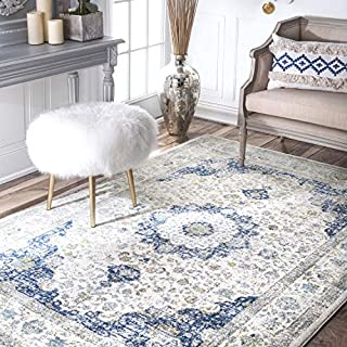 nuLOOM Traditional Distressed Persian Oriental Area Rug, Blue | 201 x 274 cm