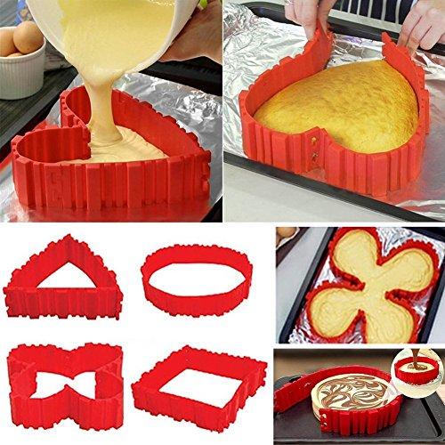 Kuchenformen Nonstick 4PCS Silikon Backform Bake Snake Tortenring Verstellbar Magic Bake - Entwerfen Sie Ihre Kuchen Jede Form Herz Schmetterling Round Square