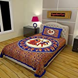 #5: RajasthaniKart Classic 144 TC Cotton Single Bedsheet with Pillow Cover - Abstract, Blue