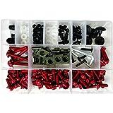 Menge:25er Set Verkleidungsschrauben 5mm Auto Motorrad Roller Aluminium rot blau schwarz gold gr/ün Alu farbig bunt 13 und 16mm lang Abmessung//Farbe:schwarz eloxiert 16mm