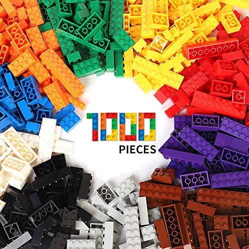 WYSWYG Briques de Construction de 1000 Pièces, Building Bricks Block Ensemble de Blocs pour Enfants de 4 Ans Plus,Compatible Avec LEGO Toutes les Marques Principales, 10 Couleurs Classiques, 14 Formes