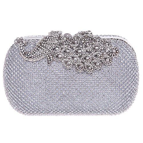 Bonjanvye Shining Peacock Clutch Purse Crystal Rhinestones Evening Bags AB Gold Silver