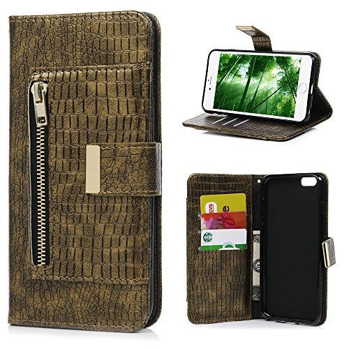 MAXFE.CO Schutzhülle Tasche Case für iPhone 6 6S PU Leder Flip Tasche Cover mit Zipper im Ständer Book Case / Kartenfach Knallblau Gold