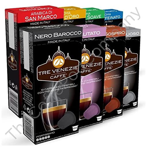 80 Nespresso Compatible Coffee Capsules / Pods,Tre Venezie Starter Pack. 8 Different Blends.