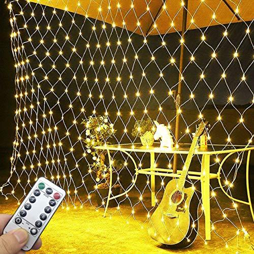 Lichtervorhang Netz, Fensterdeko Weihnachten 3M X 2M Lichterketten 198LEDs Lichterkette Warmweiß für Weihnachten Party Schlafzimmer Innen und außen Deko -Joy.J