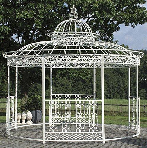 CLP wunderschöner XXL Luxus Pavillon ROMANTIK, aus stabilem Eisen Vierkantprofilen, Ø 5 Meter, Höhe 4,45 Meter antik-weiß