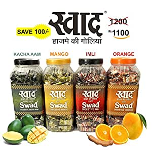 Swad Combo Pack of Candy Chocolate Jar with Kachha Aam, Mango, Imli and Orange Flavours- 500 candies in each Jar
