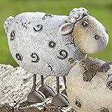 Gartenfigur Farmtiere, zur Auswahl Kuh, Schwein, Schaf, Polyresin / Kunstharz, witterungsbeständig, Höhe: 21 bis 23,5 cm. Ideal als Deko für den Garten oder Gartenteich, auch drinnen einsetzbar., Modell:Schaf