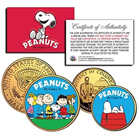 PEANUTS Charlie Brown SNOOPY DC Quarter & JFK Half Dollar US 2-Coin Set LICENSED by The Merrick Mint