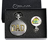 Conbays set regalo per padre argento Dad Theme Roman numero quadrante quarzo Orologio da taschino con cupola in vetro super-dad Pendant Necklace