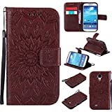 Nancen Tasche Hülle für,Samsung Galaxy S4 Hülle,Samsung Galaxy S4 / I9500 (5 Zoll) Leder Wallet Tasche Brieftasche Schutzhülle, Prägung Sonnenblume Muster