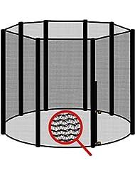 AWM Trampolin Sicherheitsnetz für 8 Stangen - System Fangnetz Netz außenliegend Trampolinnetz Ersatznetz schwarz
