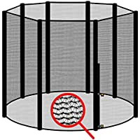 Preisvergleich für awm® Trampolin Sicherheitsnetz für 8 Stangen - System Fangnetz Netz außenliegend Trampolinnetz Ersatznetz schwarz